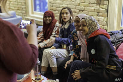 Democratic congressional candidate, Ilhan Omar, speaks to a group of supporters in Minneapolis, Minnesota, on Nov. 3, 2018.