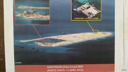 Philippine military's images of China's reclamation in the Spratlys, Kagitingan Reef, April 11, 2015. (Armed Forces of the Philippines)