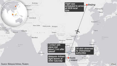 Missing Malaysia Airlines plane