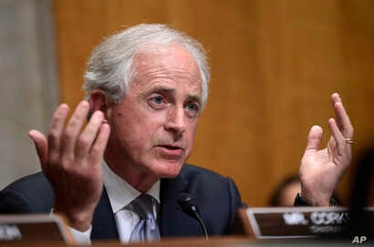 Sen. Bob Corker, R-Tenn., questions Secretary of State Mike Pompeo as he testifies before the Senate Foreign Relations Committee on Capitol Hill in Washington, July 25, 2018, during a hearing on diplomacy and national security.