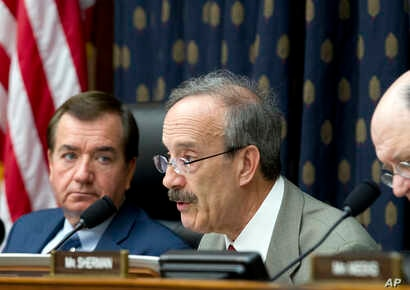 House Foreign Affairs Committee's ranking member Rep. Eliot Engel, D-N.Y., speaks during a hearing on Iran before the House Foreign Affairs Committee at Capitol Hill in Washington, Oct. 11, 2017. At left House Foreign Affairs Committee Chairman Rep. ...