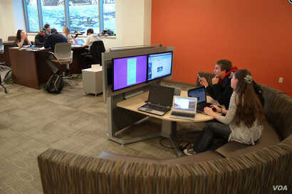 Technology stations, which encourage discussion during group projects, at St. Norbert College in Wisconsin. (Photo: St. Norbert College)
