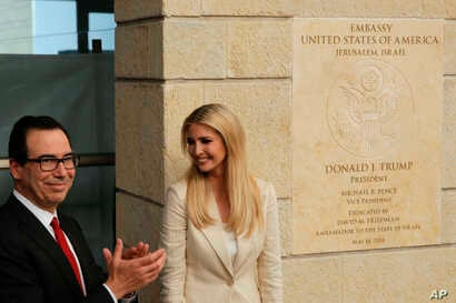 FILE - U.S. President Donald Trump's daughter Ivanka Trump, right, and U.S. Treasury Secretary Steve Mnuchin attend the opening ceremony of the new U.S. Embassy in Jerusalem, May 14, 2018.