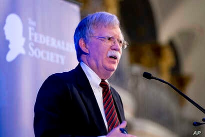National Security Adviser John Bolton speaks at a Federalist Society luncheon at the Mayflower Hotel, Sept. 10, 2018, in Washington.