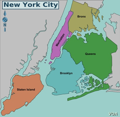 Map of New York showing the city's five boroughs