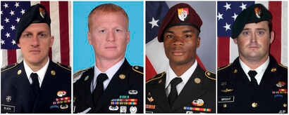 These images provided by the U.S. Army show, from left, Staff Sgt. Bryan C. Black, 35, of Puyallup, Wash.; Staff Sgt. Jeremiah W. Johnson, 39, of Springboro, Ohio; Sgt. La David Johnson of Miami Gardens, Fla.; and Staff Sgt. Dustin M. Wright, 29, of ...