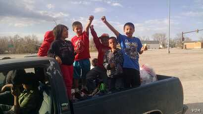 Lakota children who participated in a recent protest by the Mothers Against Meth Alliance on the Pine Ridge Reservation, March. 24, 2015.