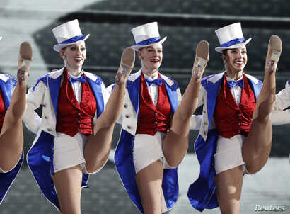 """Members of the Radio City Music Hall """"Rockettes"""" perform at the Freedom Ball held for U.S. President Donald Trump and first lady Melania Trump in Washington, Jan. 20, 2017."""