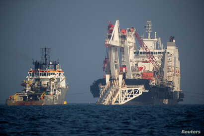 FILE - The Nord Stream 2 pipe-laying vessel Audacia is pictured off Ruegen island, Germany, Nov. 7, 2018.