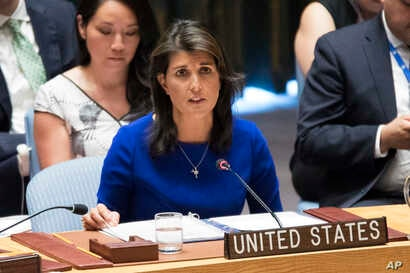 U.S. Ambassador to the United Nations Nikki Haley speaks during a Security Council meeting at United Nations headquarters, Aug. 28, 2018.