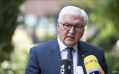 German President Frank-Walter Steinmeier speaks about  the attack in Machester, Britain, the day after a suicide bomber attacked an Ariana Grande concert as it ended, in Berlin, May 23, 2017.