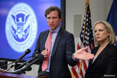 U.S. Secretary of Homeland Security Kirstjen Nielsen and Under Secretary Chris Krebs speak to reporters at the DHS Election Operations Center and National Cybersecurity and Communications Integration Center,  Nov. 6, 2018.