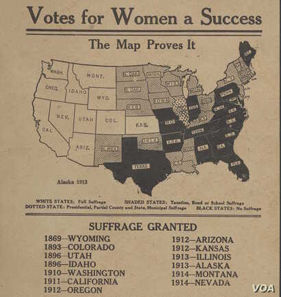 """This map charting and promoting the progress of women's sufferage is from around 1914. (From """"A History of America in 100 Maps"""")"""