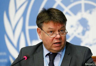 Petteri Taalas, Secretary general of the World Meteorological Organization  attends a news conference on the annual Greenhouse Gas Bulletin on concentrations of CO2 at the United Nations in Geneva, Oct. 24, 2016.