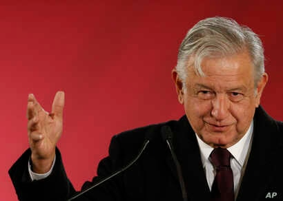 Mexican President Andres Manuel Lopez Obrador speaks during a press conference in Mexico City, Jan. 9, 2019.