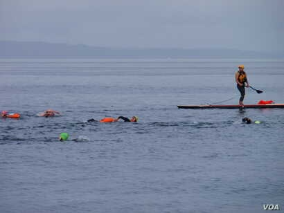 Safety kayaks and paddleboarders escorted paying customers on the group swim. (VOA / T. Banse)