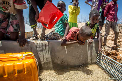 Children drink water delivered by a truck in the drought stricken Baligubadle village near Hargeisa, the capital city of Somaliland, in this handout picture provided by The International Federation of Red Cross and Red Crescent Societies on March 15,...