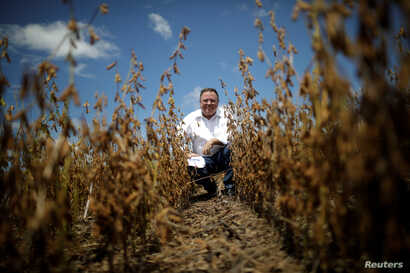 FILE - Brazil's Agriculture Minister Blairo Maggi attends an opening ceremony of the Grain Harvest in Caseara, Brazil, Feb. 15, 2018.