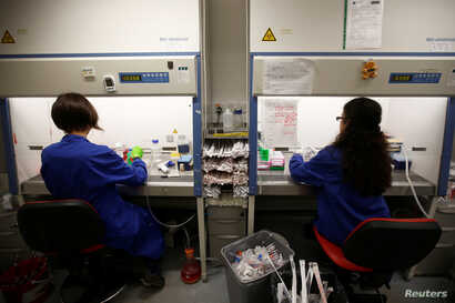 FILE - Students work in cancer research laboratories at the Old Road Campus research building at Oxford University, in Oxford, Britain, May 11, 2016.  Universities will also be targeted in government's effort to reduce numbers of foreign students.