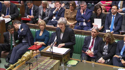 A still image from video footage shows Britain's Prime Minister Theresa May speaking about Brexit, in the House of Commons, in London, Britain, Nov. 15, 2018.