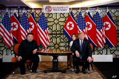 President Donald Trump meets North Korean leader Kim Jong Un, Feb. 28, 2019, in Hanoi.