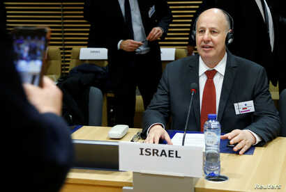 Israeli Minister of Regional Cooperation Tzachi Hanegbi attends a session of the International Donor Group for Palestine at the EU Commission headquarters in Brussels, Jan. 31, 2018.