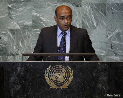 FILE - Bharrat Jagdeo, who was then the president of Guyana, addresses the 66th U.N. General Assembly at the U.N. headquarters in New York, Sept. 21, 2011.