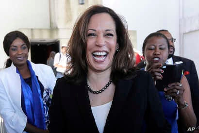 FILE -  U.S. Sen. Kamala Harris, D-Ca., leaves a campaign event at Miami Dade College in Miami, Oct. 29, 2018.
