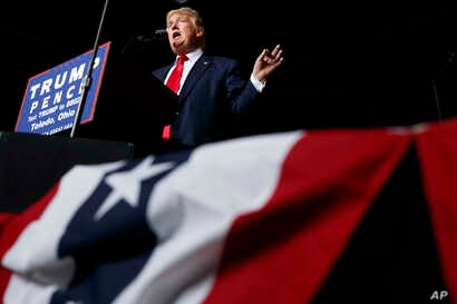 Republican presidential candidate Donald Trump speaks during a campaign rally in Toledo, Ohio, Oct. 27, 2016.