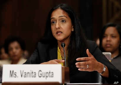 Vanita Gupta, incoming President and CEO Leadership Conference for Civil and Human Rights, testifies on Capitol Hill in Washington, May 2, 2017, before a Senate Judiciary Committee hearing on responses to the increase in religious hate crimes.