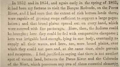 """Screenshot of passage from """"To the people of New Mexico...why the Navajo Indians have been located upon a reservation at the Bosque Redondo,"""" by U.S. Army General James H. Carleton, 1864"""