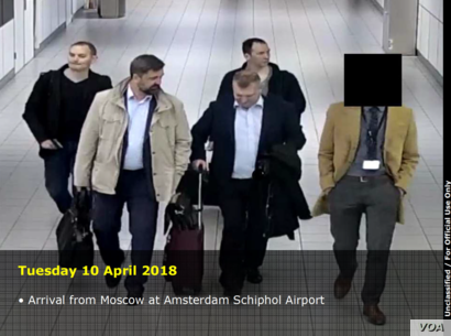 Russians allegedly spying on anti-doping organizations arrive in Amsterdam. (Netherlands Defense Intelligence and Security Service via US Department of Justice.)