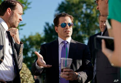 White House communications director Anthony Scaramucci speaks to members of the media outside the White House in Washington, Tuesday, July 25, 2017.
