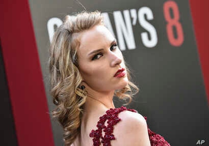 """FILE - Actress Charlotte Kirk attends the world premiere of """"Ocean's 8"""" at Alice Tully Hall on June 5, 2018, in New York."""