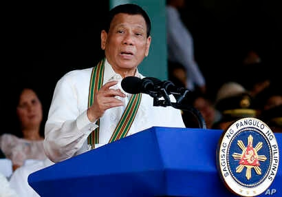 President Rodrigo Duterte speaks during the 121st anniversary celebration of the Philippine Army in Taguig city, east of Manila, Philippines, March 20, 2018.