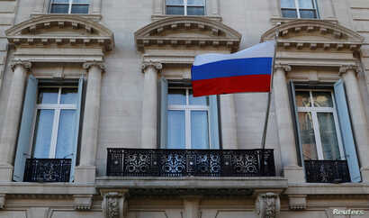 The Russian flag flies on the Consulate-General of the Russian Federation in Manhattan in New York City, March 26, 2018.