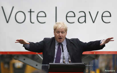 """London Mayor Boris Johnson speaks at a """"Out"""" campaign event, in favor of Britain leaving the European Union, at Europa Worldwide freight company in Dartford, Britain, March 11, 2016."""