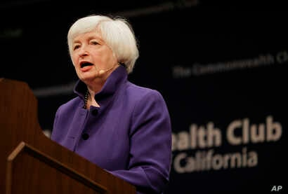 Federal Reserve Board Chair Janet Yellen addresses a meeting of the Commonwealth Club, Jan. 18, 2017, in San Francisco.