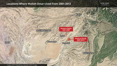 Locations Where Mullah Omar Lived From 2001-2013