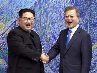 FILE - North Korean leader Kim Jong Un, left, and South Korean President Moon Jae-in inside the Peace House at the border village of Panmunjom in Demilitarized Zone, South Korea, April 27, 2018.