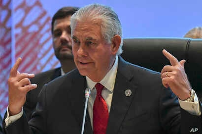 U.S. State Secretary Rex Tillerson gestures before the 10th Lower Mekong Initiative Ministerial Meeting, part of the Association of Southeast Asian Nations (ASEAN) Regional Forum in Manila, Philippines, Aug.  6, 2017.