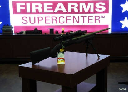 A rifle is displayed at a Firearms Supercenter in Virginia. (Photo: Diaa Bekheet)
