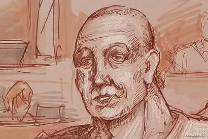 Cesar Sayoc, accused of mailing 14 pipe bombs to prominent critics of U.S. President Donald Trump, appears handcuffed in federal court to answer charges against him in an artist's sketch in Miami, Oct. 29, 2018.