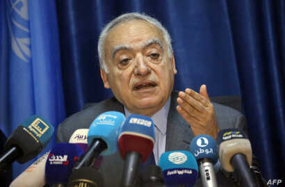 Ghassan Salame, U.N. special envoy for Libya and head of the U.N. Support Mission in Libya (UNSMIL), delivers a speech at the mission headquarters in the capital Tripoli, March 20, 2019.