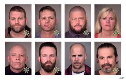 These photos provided by the Multnomah County Sheriff's Office and the Maricopa County Sheriff's Office show eight people involved in the occupation of the headquarters of the Malheur National Wildlife Refuge in Oregon, who were arrested Jan. 26, 201...