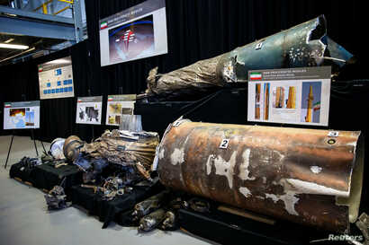 "A U.S. Department of Defense exhibit shows a ""Qiam"" ballistic missile manufactured in Iran, at a military base in Washington, Nov. 29, 2018."