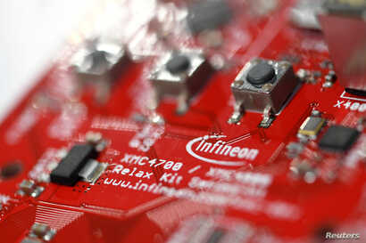 A close-up of a the Infineon microcontroller kit  XMC 4700 is pictured at an exhibition during the German semiconductor manufacturer Infineon's annual shareholder meeting in Munich, Feb. 21, 2019.