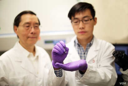 James Lee, Ph.D., left, examines a silicone chip with Junfeng Shi at The Ohio State University College of Engineering. Lee, who led a team of engineers who designed the chip, collaborated with Ohio State Wexner Medical Center on this study to reprogr...
