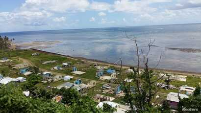 A view of the village of Nasau, on Fiji's Koro island, after Cyclone Winston struck in 2016.