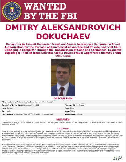 FILE - This wanted poster provided by the FBI shows Dmitry Aleksandrovich Dokuchaev, 33, a Russian national. A U.S. indictment of two Russian intelligence agents and two hackers alleged to have stolen more than half a billion U.S. email accounts in 2...